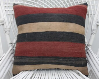Kilim pillows, throw pillows,turkish pillow , striped pillow, both sided, two sided, 20x20 pillow cover, sofa pillow, outdoor pillow, 31