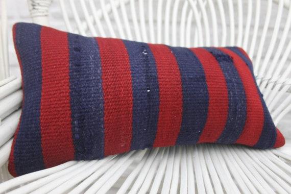 Turkish Kilim Pillow, 8x16 Natural Pillow, Handwoven Pillow, Striped Pillow, Designer Pillow, Cushion Case, Blue Pillow, Lumbar Pillow 725