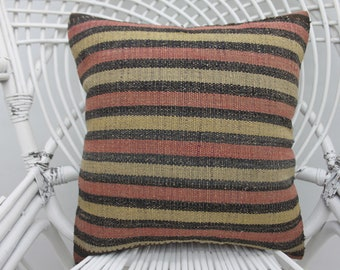 16x16 colorful pillow throw pillow, handmade pillow both sided, wool pillow, kilim pillow,16x16 pillow cover, boho chic, kilim pillows, 57