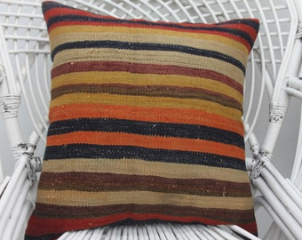 20x20 colorful pillow, throw pillows,boho pillow, organic pillow, home decor pillow,striped pillow, both sided, 20x20 pillow cover,  20