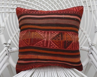 16x16 embroidered kilim pillow throw pillow indoor pillow boho pillow handmade pillow striped kilim pillow 40x40 cm kilim pillow cover  5335
