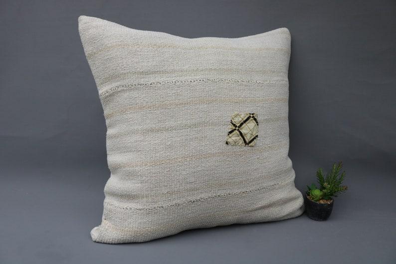 Large Pillow Decorative Pillow Anatolian Pillow Pillow Cover Kilim Pillow 28x28 Large Pillow Hemp Pillow Vintage 848 White Pillow