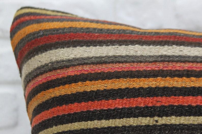 Pillow Covers Anatolian Pillow Big Size Pillow Striped Pillow 28x28 Kilim Pillow Throw Pillows 242 Multicolor Pillow Vintage Pillow