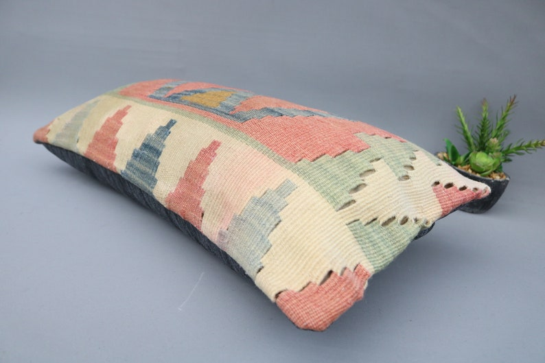 Blue Pillow Aztec Pillow Kilim Pillow Traditional Pillow 5448 Pillow Cover Living Room Pillow Decorative Pillow 12x24 Throw Pillow