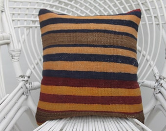 16x16 kilim pillow cover, throw pillow, handmade pillow, boho pillow,both sided, organic pillow, 16x16 cushion cover, both sided, kilims 61