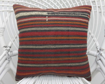16x16 striped kilim pillow,two sided, throw pillow,colorful pillow,16x16 pillow cover, boho pillow,both sided, turkish pillow,sofa pillow 56