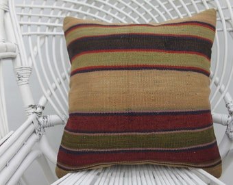 Both sided, wool pillow, organic pillow,  two sided, throw pillows, kilim pillow, 16x16 pillow cover, both sides, turkish pillow, 33