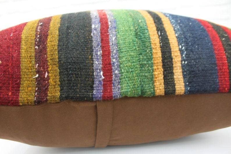 Large Pillow 227 Cushion Cover 28x28 Ethnic Pillow Turkish Kilim Pillow Decorative Pillow Striped Pillow Green Pillow Throw Pillow