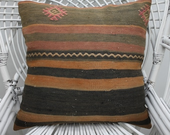 20x20 striped kilim pillow embroidered pillow handmade pillow indoor pillow throw pillow 50x50 cm pillow cover organic kilim pillow  2594