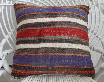 "purple pillow decorative pillow cover stripe pillow cover 16x16 pillow cushion cover 16"" x 16"" cushion pillow ethnic hand woven pillow 746"