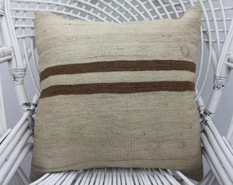 20x20 striped pillow, throw pillow, organic pillow,  wool pillow, both sided, 20x20 cushion cover, cottage pillow,shabby chic, two sided 41