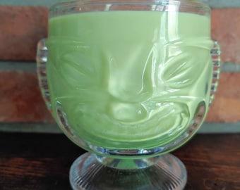 Two-Faced Tiki Soy Candle. Angry Tiki-Happy Tiki- Tiki Bar Decor- Customize- Double Wick Candle- Coconut Lime Verbena- Citronella