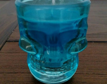 Aqua Blue Skull Shot Glass -Soy Candle