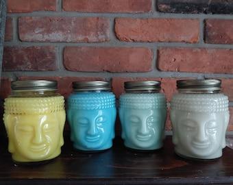 Buddha Candles Ready To Ship- Nag Champa- Sandalwood- Zen Garden- Green Tea Lemongrass- Fast Shipping- Soy Candles-