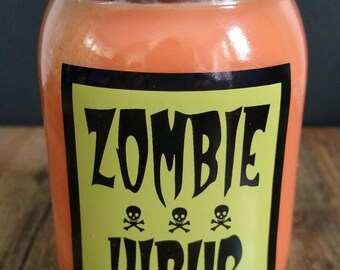 Zombie Virus Soy Candle in Apples and Maple Bourbon scent