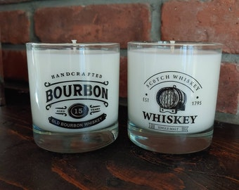 Bourbon-Whiskey-Scotch Soy Candle- Whiskey on the Rocks-Bourbon Scented-Bar Room Decor-