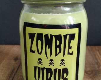 Zombie Virus Soy Candle in Green Apple scent