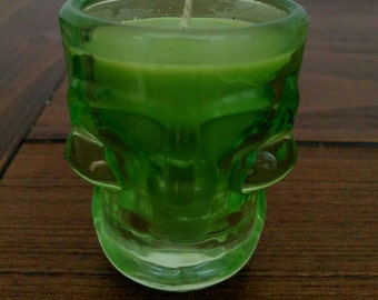 Lime Green Skull Shot Glass- Soy Candle
