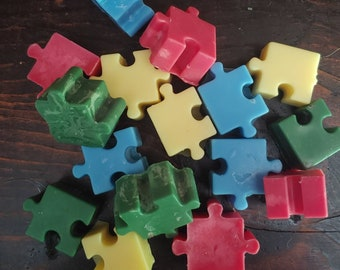 Rainbow Puzzle Piece Wax Melts- Autism Awareness- Fundraising- Rainbow Candles- Multi Colored