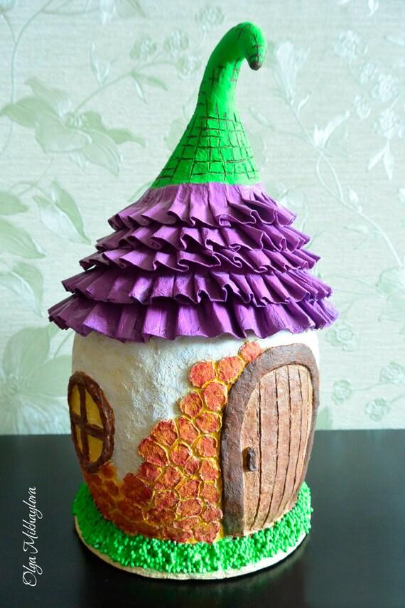 Paper Mache Fairy House Paper Mache Box Decorative Box Etsy Custom Decorative Paper Mache Boxes