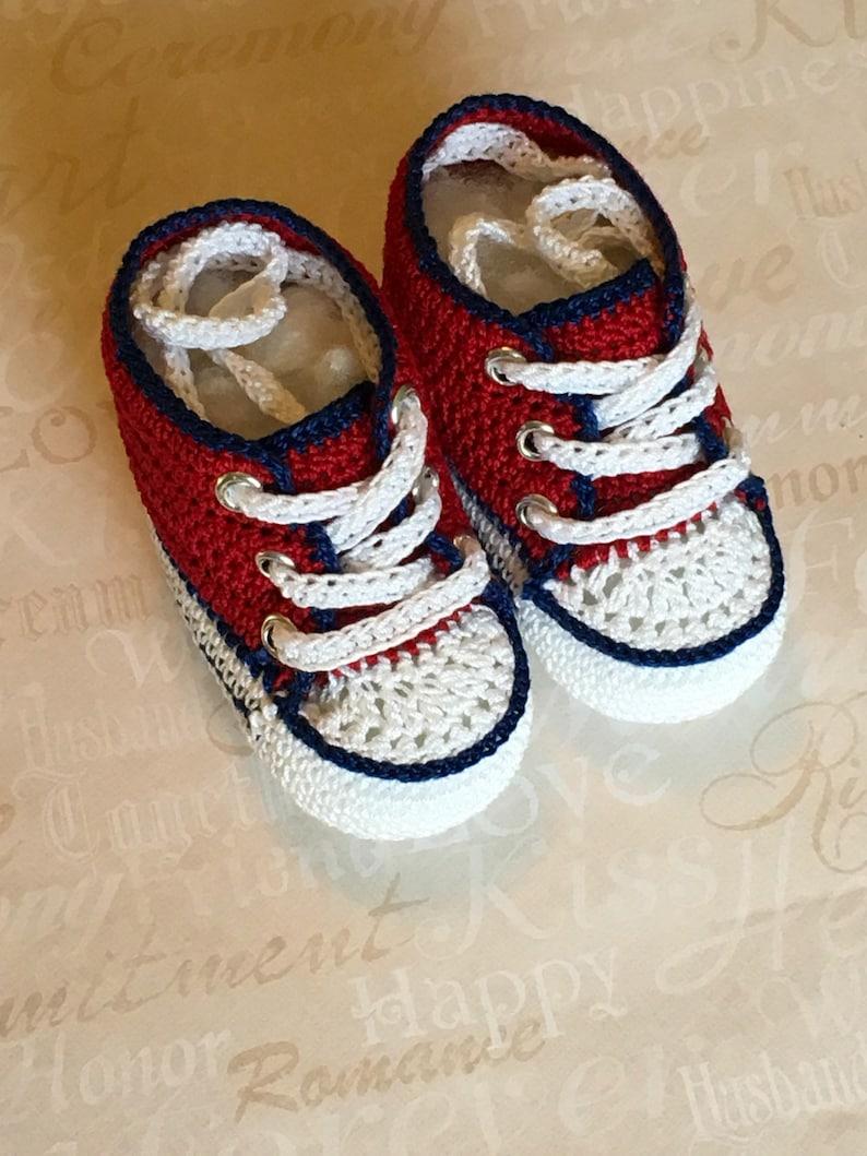 76538549dbc9f Baby boys shoes handmade crochet shoes NEWBORN red christmas converse  booties crib 100%cotton