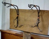 Forged Wall Mounted Plant Hangers, one or as a pair, Blacksmith Made