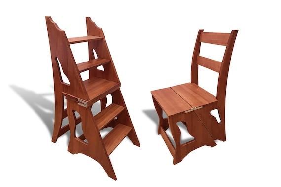 Wood Step Stool - Step Stool Chair - Chair Ladder - Step Ladder - Foot  Stool - Kitchen Step Stool-Konsul