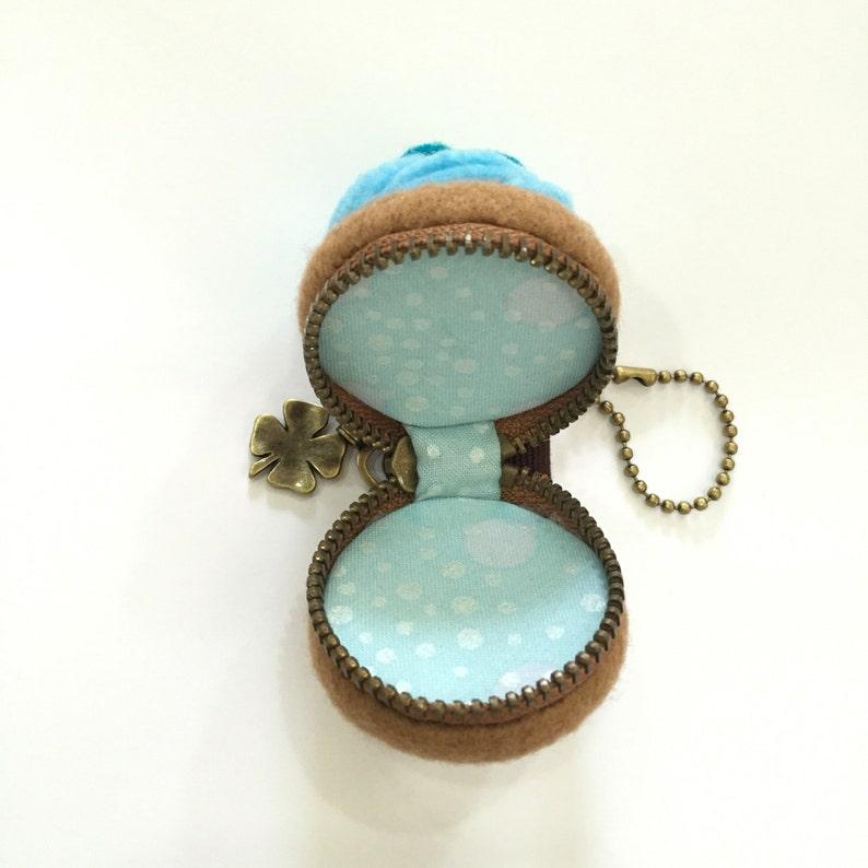 macaron purse 4 cm Felt blue cupcake macaron coin purse felt cupcake travel jewelry case jewelry case