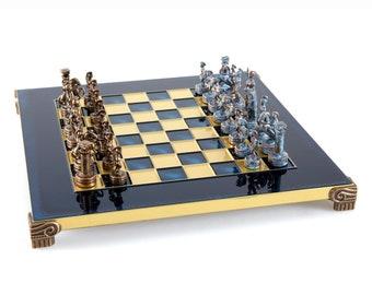Brass/&Nickel Greek Mythology Chess Set Wooden case Blue Board