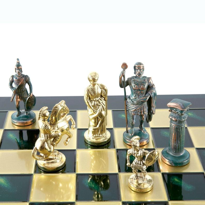 Greek Roman Army Large Chess Set Brass/&Green Green chess Board