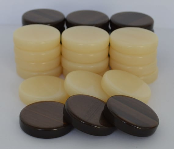 Chips Brown /& Ivory 1 inch High Quality 30 Small Acrylic Backgammon Checkers