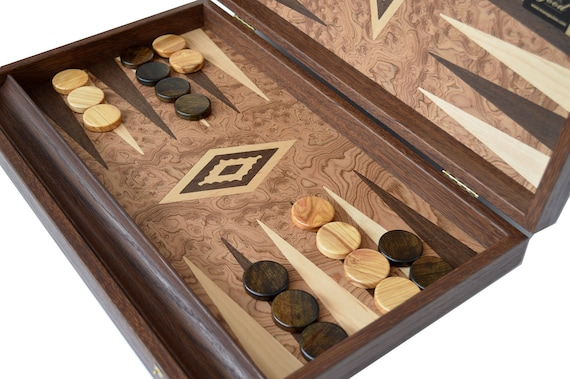 """Manopoulos Olive 15/"""" Backgammon Set Handmade in Greece Olive wood checkers"""