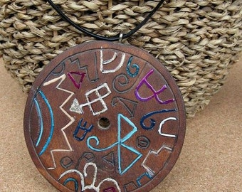 Necklace with Carved Wooden Circle Medallion