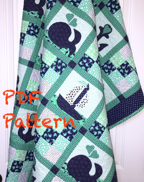 Nautical Baby Quilt Pattern Sailboat Baby Boy Quilt Pattern Etsy