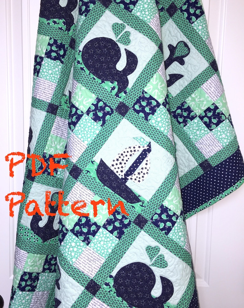 Nautical Baby Quilt Pattern, Sailboat baby boy Quilt Pattern, Whales Quilt  Pattern, Quilt Pattern, baby boy blanket Pattern, PDF Pattern