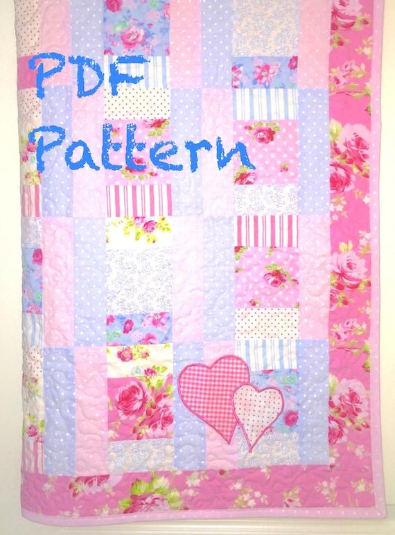 Sweet Baby Girl Quilt Pattern Modern Baby Quilt Pattern Etsy Interesting Baby Girl Quilt Patterns