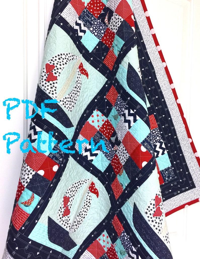 Sailboat Baby Quilt Pattern, Quilt Pattern, Nautical baby Quilt Pattern,  Baby Boy blanket pattern, Quilt Pattern PDF