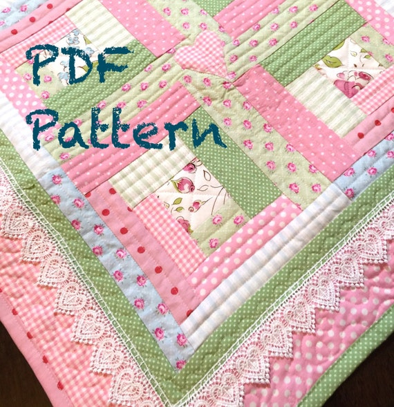 Chic Baby Girl Quilt Pattern Log Cabin Quilt Pattern Modern Etsy Adorable Baby Quilt Pattern