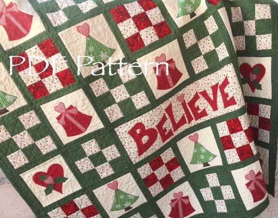 Christmas Quilt Pattern Believe In Santa Christmas Quilt Etsy Custom Christmas Quilt Patterns