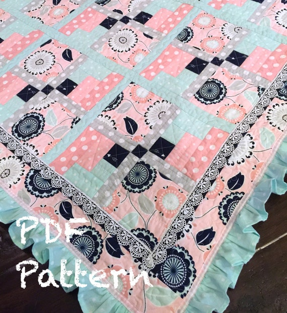 Ruffle Baby Quilt Pattern Baby Girl Quilt Patter Baby Etsy Enchanting Baby Quilt Pattern
