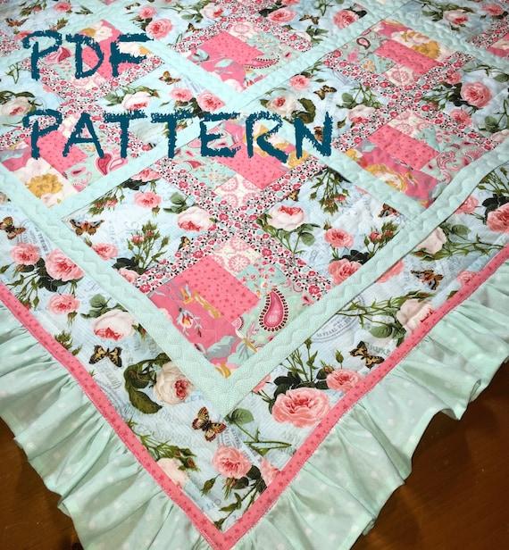 Ruffle Baby Girl Quilt Pattern Ruffle Quilt Pattern Baby Etsy Simple Baby Girl Quilt Patterns