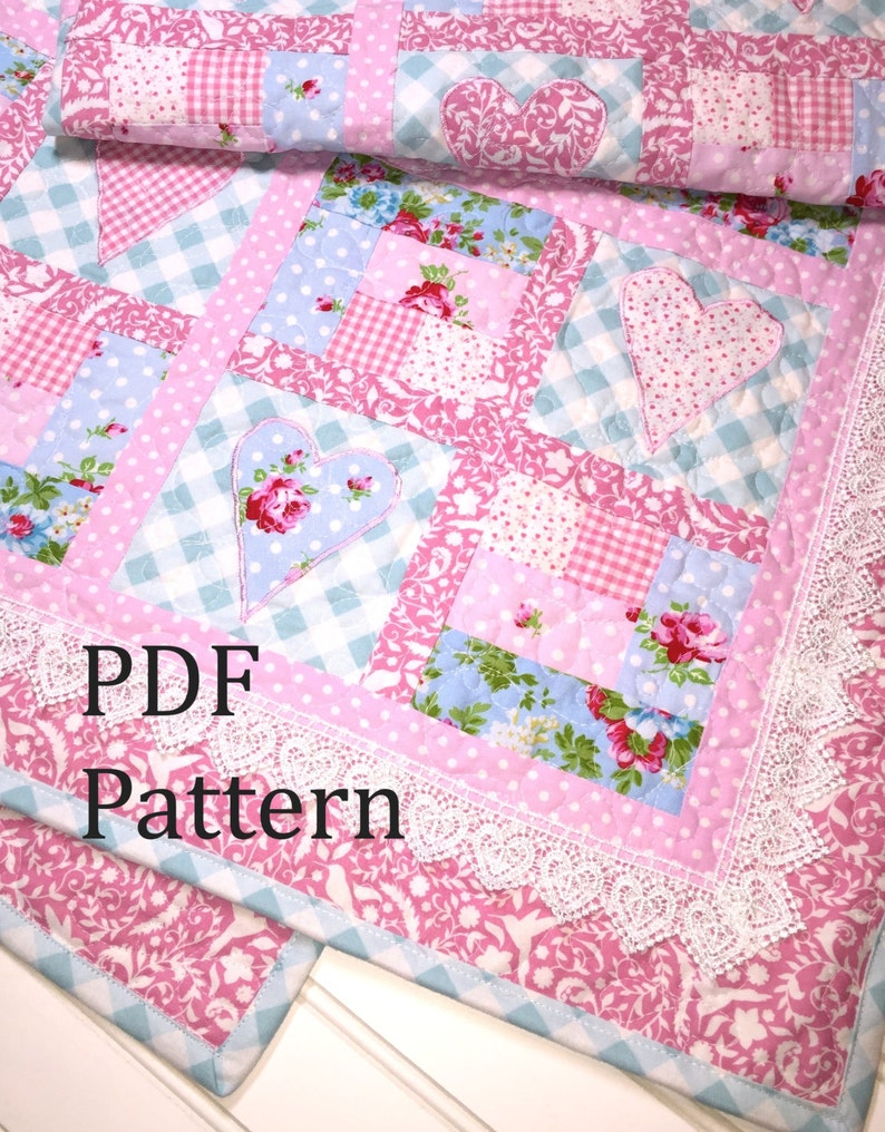 Baby Quilt Patterns.Heart Quilt Pattern Baby Quilt Pattern Baby Girl Quilt Pattern Log Cabin Quilt Pattern Patchwork Quilt Pattern Baby Quilt Pattern