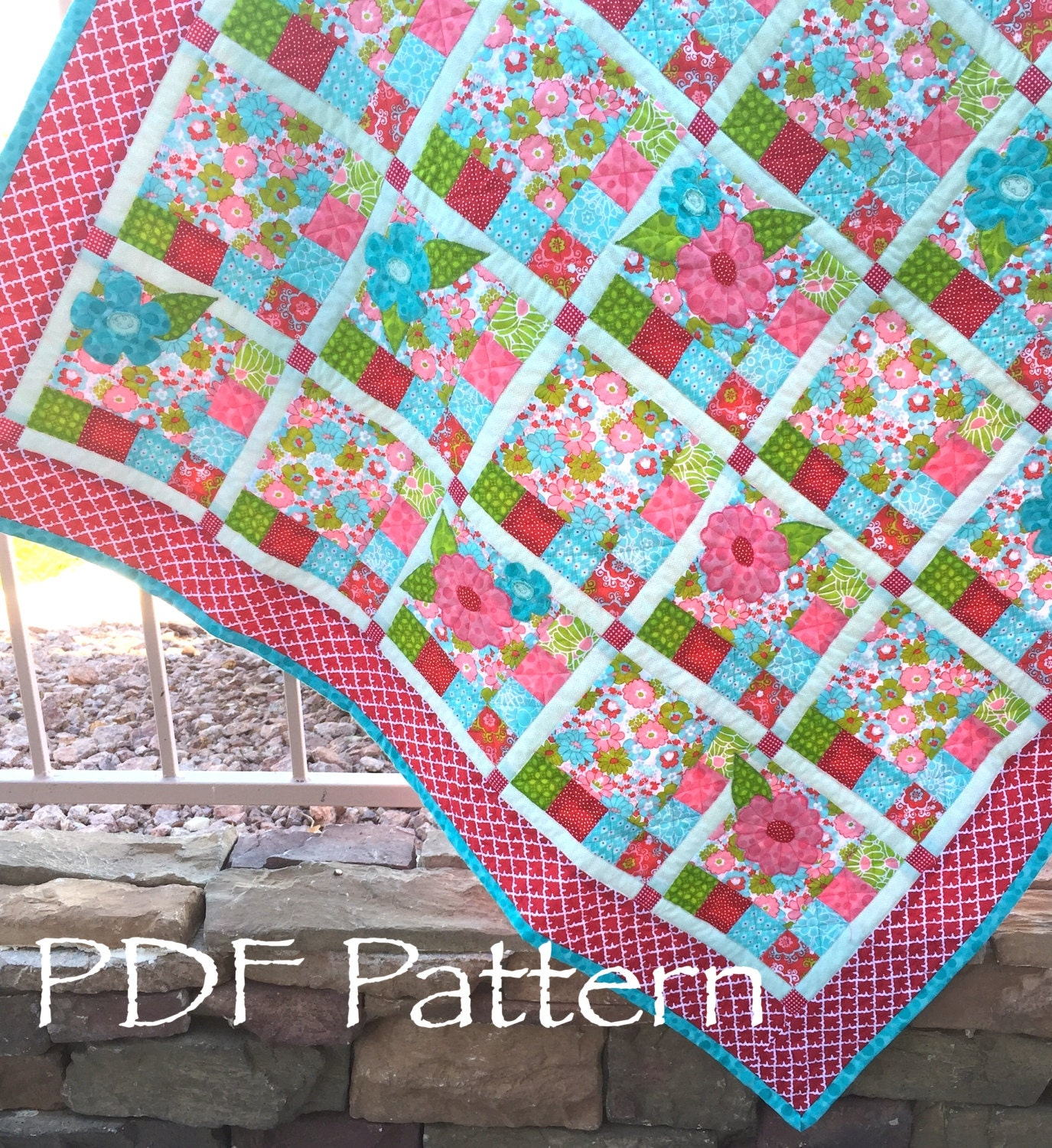 Flower Checked Quilt PATTERN Baby Girl Quilt Pattern PDF | Etsy