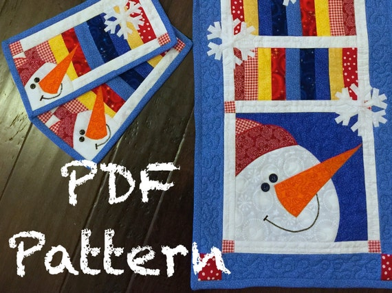 Snowman Quilt Pattern Quilt Pattern Quilted Table Runner Etsy