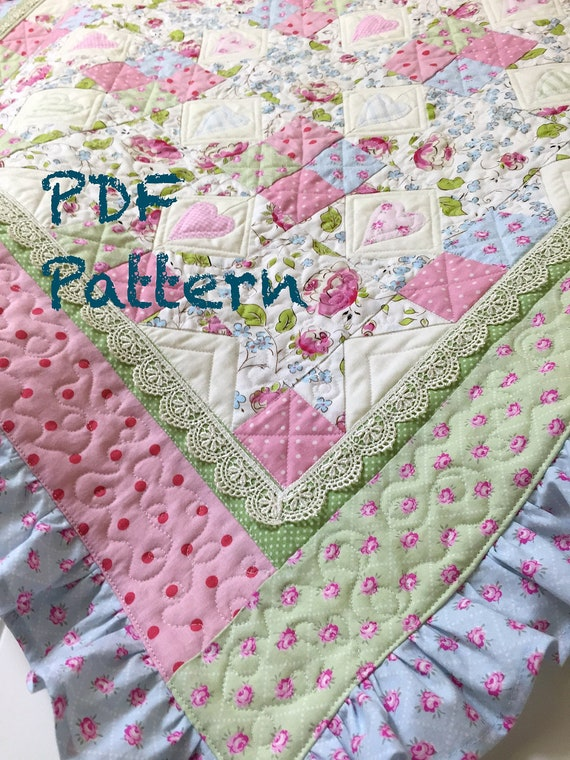 Ruffle Baby Quilt Pattern Lace Quilt Pattern Baby Blanket Etsy Gorgeous Baby Girl Quilt Patterns