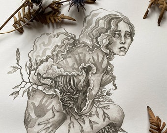 Original Artwork / Ink / Ink Wash / Black and White / Ink Wash Painting: The Flesh Remembers
