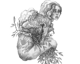 Fine Art Print  / Ink / Ink Wash / Black and White / Ink Wash Painting: The Flesh Remembers