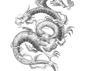 Fine Art Print / Folklore and Fairytales / Fantasy Artwork: Zmey Gorynych