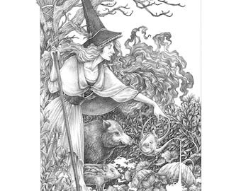Original Artwork /  Drawtober 2019 / Ballpoint Drawing: Witch's Garden
