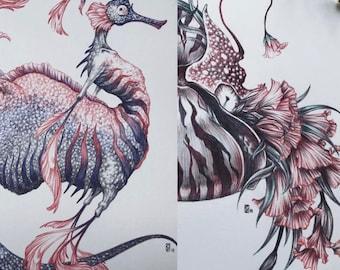 Limited Edition Art Print Bundle / Fine Art Print / Traditional Artwork Fantasy Art: Sea Creatures
